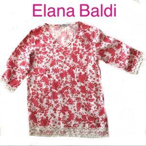 97bcdd5560e3a2 Elena Baldi Italy Linen Tunic Blouse Top size M
